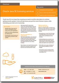 Java SE licensing datasheet cover